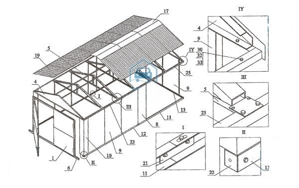 Схема сборки гаража ЛСТК