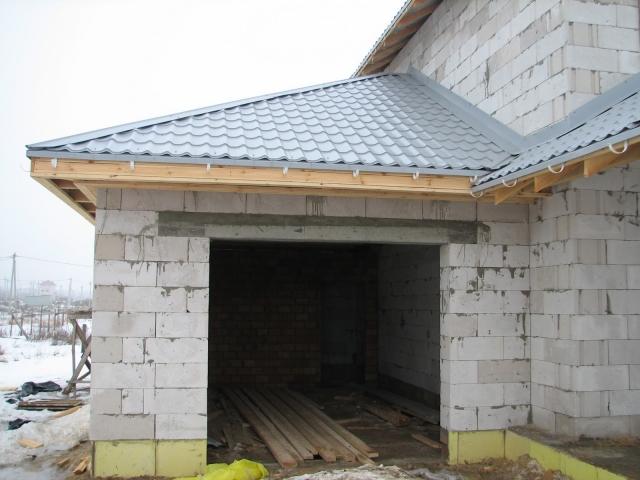 Крыша на гараж из пеноблоков своими руками